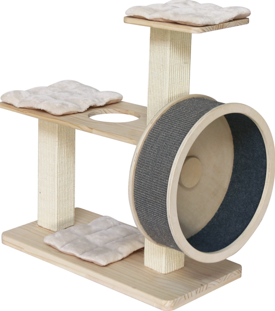 cat tree with exercise wheel